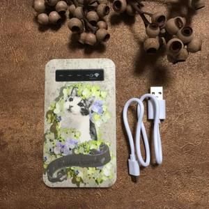モバイルバッテリー・猫と紫陽花