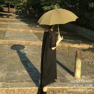 DOT 刺繍日傘 カーキ×黄 47㎝10間