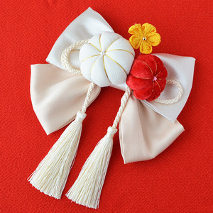 髪飾り 和装 つまみ細工 組紐タッセル リボン飾り/白・ホワイト[wa032w]結婚式 成人式