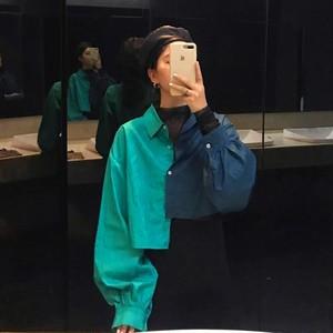 【トップス】好感度UPファッション 配色 POLOネック 切り替え長袖 シャツ33509553