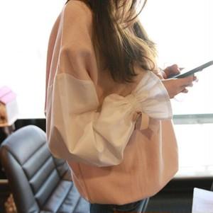 春秋レディーストップス ブラウス パーカー リボン飾り 無地 人気 韓国風カジュアル BHZ170821-141