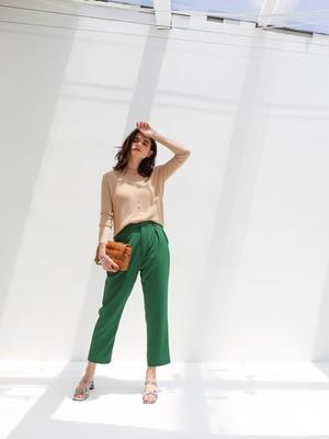color tuck pants(green)