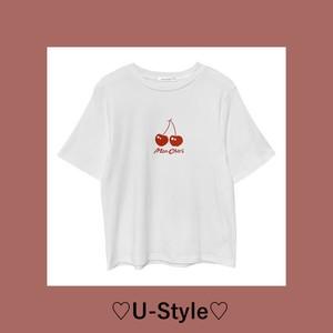 【予約販売+送料無料】cherry 柄Tシャツ