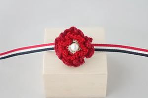 ヒナゲシの帯留め(赤色)
