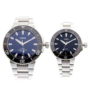 ペアウォッチ オリス ORIS 腕時計 メンズ レディース 73377304135M 73377314154M AQUIS 自動巻き ネイビー ブラック