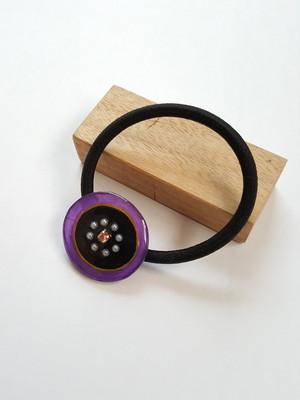 丸いヘアゴム 紫×黒