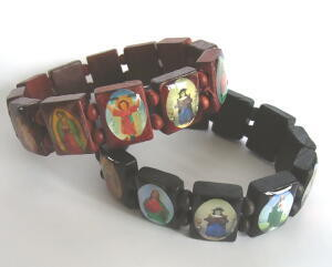 メキシコの聖人木製ブレスレット(ブラック)