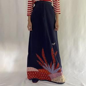 made in india indigo patchwork long skirt (V5071A)
