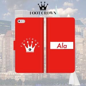 FOOT CROWN 限定 手帳型 スマホケース フットサル ボックスロゴ レッド [アラ] [Ala] iphone全機種対応