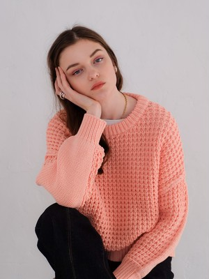 waffle crew-neck knit(coral pink)