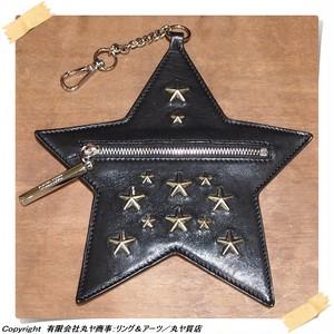 ジミーチュウ:星型バッグチャーム・コインケース/レザー×スタースタッズ/ブラック×シルバー