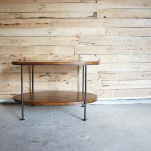鉄と木のオーバルテーブル