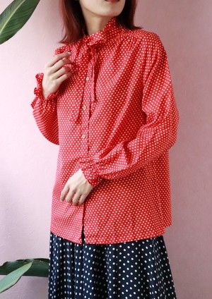 Red polka dots ribbon blouse