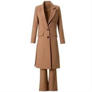 スーツセットアップキャメルロングジャケット+フレアパンツ