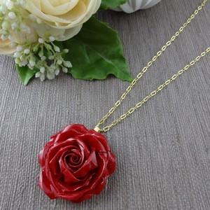 バラのネックレス プリンセス1輪 赤&ゴールド