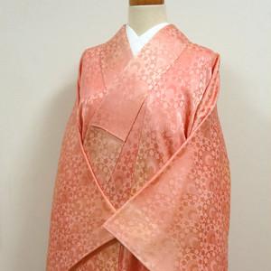 ピンクのぼかしに花と青海波地紋 色無地