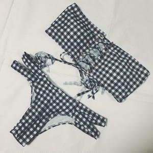 【送料無料◇即納】Bikini♡ギンガムチェックレースアップバンドゥビキニ