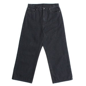 FUJIYAMA Wash Denim Wide Pants -Black <LSD-AH1P5>