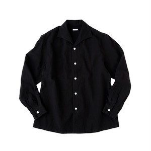 SOWBOW SHIRT -A    (ONE PEACE COLLAR) KURUME-KASURI     INK BLACK