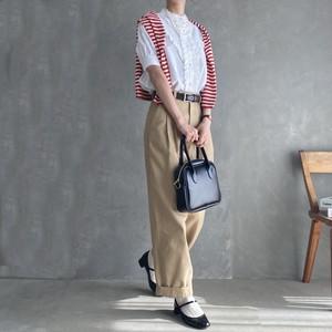 short sleeve lace blouse 【white】