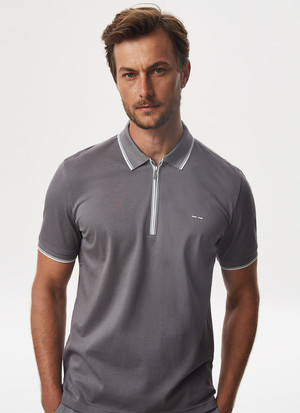 MERCERISED COTTON POLO SHIRT WITH ZIPPER