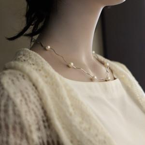 艶やかな7mm珠SVパイプ エレガントなネックレス【あこや真珠】P-1645