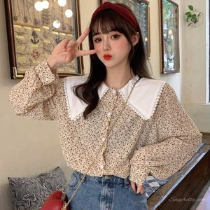 【トップス】韓国系ラウンドカラー小柄折り襟シフォンゆったりシック長袖シャツ