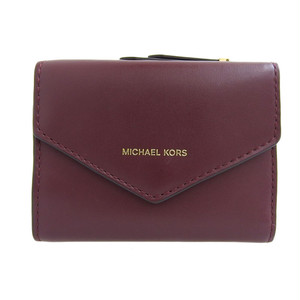 ◆ マイケル・コース MICHAEL KORS 二つ折財布 レザ- ボルドー ゴールド金具 (b0058767800)