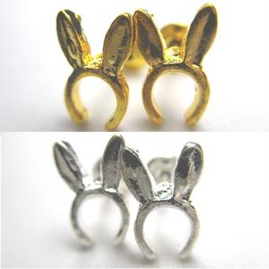 うさ耳のピアス タイプ1 単品(ゴールドorシルバー)