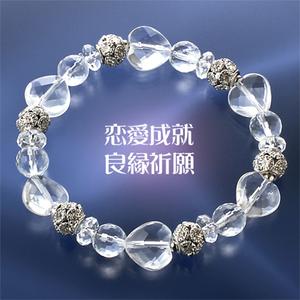 【恋愛成就・良縁祈願】★天然石クリスタル水晶・ハートブレスレット(12mm)★
