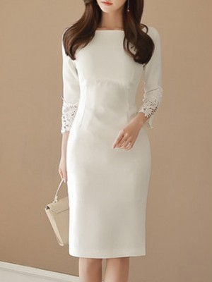 【dress】Feminine boat neck lace OL formal dress