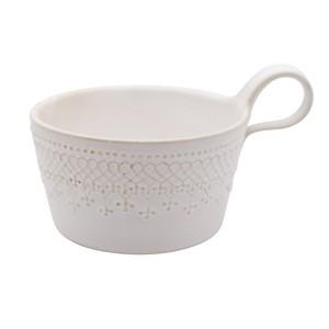 益子焼 わかさま陶芸 「フレンチレース」 スープカップ マグ 約450ml ホワイト 256081