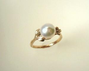受注製作 真珠と植物のリング