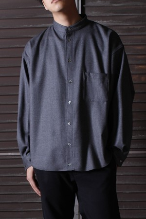 Military Sleeve Band Collar Shirt -gray <LSD-BJ3S1>