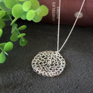 [silver999]純銀クロッシェサークルネックレス