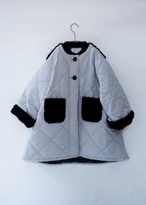 【20aw】ミチリコ(michirico) quilting long coat ライトグレー【S・M】コート