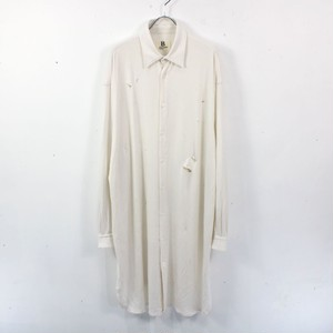B YOHJI YAMAMOTO / ビーヨウジヤマモト   ダメージデザインロングシャツ   ホワイト