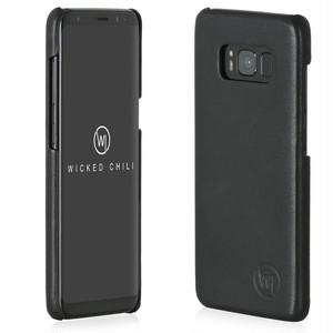 Wicked Chili by ドイツ ヨーロッパ産 高級牛革 プレミアム 手作り 本革 レザーケース (Samsung Galaxy S8, 黒)