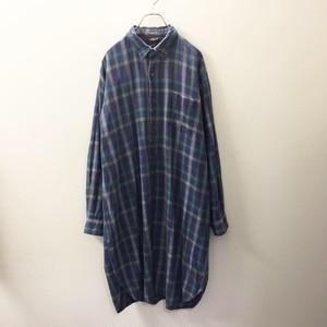 グランパシャツ ブルー/グリーン チェック メンズ 古着