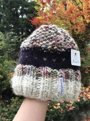 手編みニット帽1 ほんわか模様編み