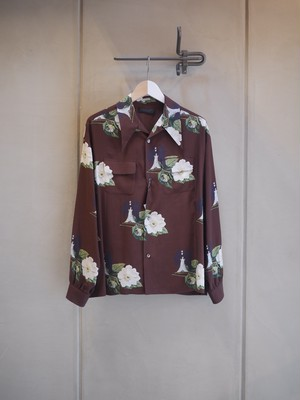 UNDER COVER / Ry Whole pattern long sleeve flower shirt (BROWN BASE)