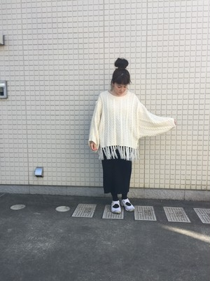 nusumigui white fringe knit
