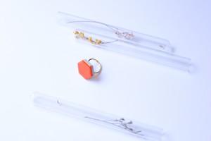 351-r 伝統文化品美濃焼多治見六角タイル指輪・リング(フリーサイズ) ※証明書付 351