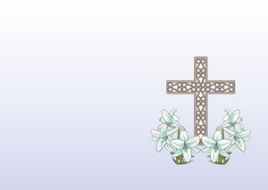 キリスト教 葬儀用テンプレート(白百合のイラスト)