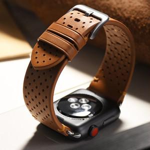 パンチング レザー アップルウォッチ 替えベルト バンド ( ブラック ブラウン ) ★Apple Watch belt 38mm/42mm/40mm/44mm ★ [NW679]