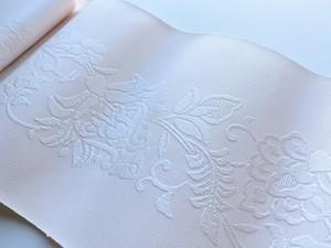 【半巾帯】博多織 唐花柄(桜色)かがり代込み
