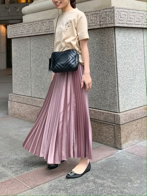 shiny pleats skirt / pink brown  (即納)