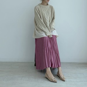 【50%OFF SALE】shiny pleats skirt / pink (即納)