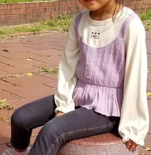 【重ね着風Tシャツ】縄編み ニットキャミソール 重ね着風 Tシャツ 40403【ラベンダー】