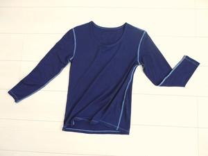 ◆100%自然素材 天然灰汁発酵建て 藍染◆ 竹布7分袖Tシャツ(レディース)